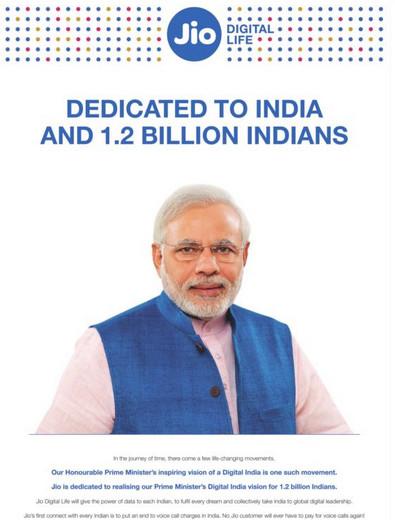 Prime Minister Narendra Modi in Reliance Geo advertisement