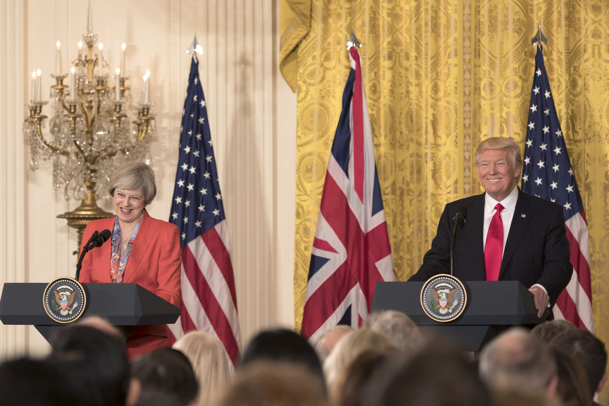 President Donald Trump and British Prime Minister Theresa May appear at a joint press conference, Friday, Jan. 27, 2017, in the East Room of the White House in Washington, D.C. (Official White House Photo by Shealah Craighead)