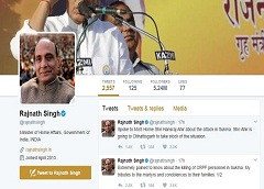 Home Minister Rajnath Singh on Twitter